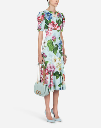 Dolce & Gabbana Short-Sleeved Floral-Print Cady Midi Dress