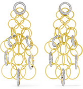 Buccellati Hawaii 18-karat Yellow And White Gold Diamond Earrings - one size