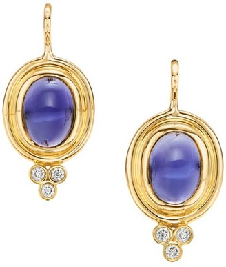 Temple St. Clair CL Color 18K Yellow Gold, Iolite & Diamond Classic Earrings