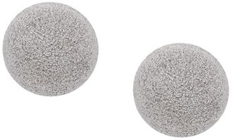 Carolina Bucci 18kt white gold Florentine Finish Button Studs with Clip