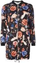 Black Floral Longline Bomber Jacket