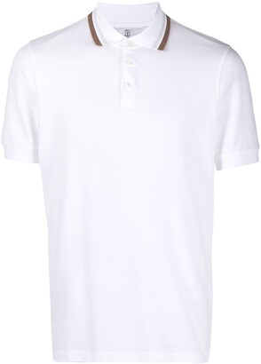Brunello Cucinelli Stripe-Trim Collar Polo Shirt