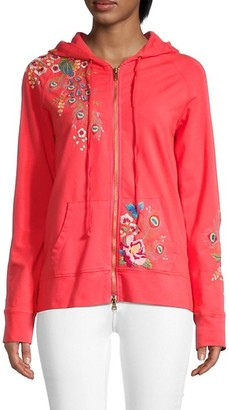 Johnny Was Vernazza Floral Embroidery Zipper Hoodie