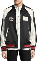 Ovadia & Sons Paradise Leopard Reversible Souvenir Bomber Jacket, Black/White