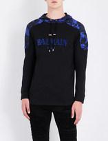 Balmain Printed-shoulders cotton-jersey hoody