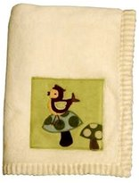 Lambs & Ivy Lambs and Ivy Enchanted Forest Plush Blanket, Cream With Green Inset
