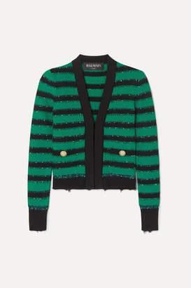 Balmain Embellished Striped Stretch-knit Blazer - Green