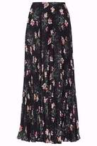 Vilshenko Pleated Floral-Print Georgette Midi Skirt