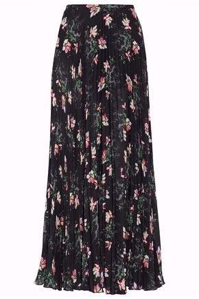 Vilshenko Pleated Floral-Print Georgette Midi Skirt