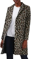 Topshop Women's Leopard Print Car Coat