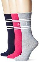 Nautica Women's Simple Stripe 3 Pack Fashion Crew Sock