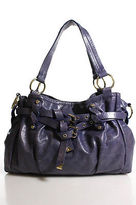 Francesco Biasia Purple Leather Gold Accent Embellished Medium Shoulder Handbag