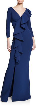 Chiara Boni Janka V-Neck 3/4-Sleeve Asymmetric Ruffle Mermaid Gown w/ Slit