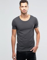 Asos Muscle T-Shirt With Scoop Neck In Gray