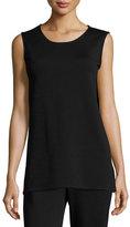 Caroline Rose Long Knit Wool Tank, Black, Petite