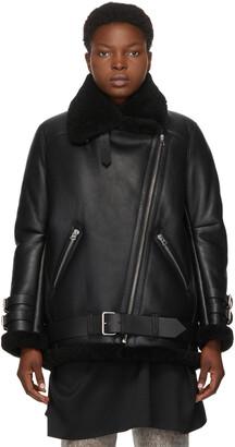 Acne Studios Black Shearling Velocite Aviator Jacket
