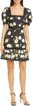Alice + Olivia Wylie Floral Square Neck Puff Sleeve Dress