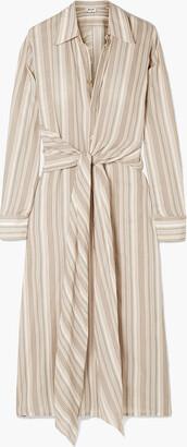 Acne Studios Daniela Tie-front Striped Cotton-voile Midi Shirt Dress