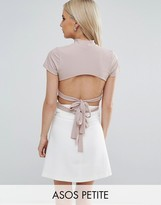 Asos Top in Rib With Cap Sleeve and Double Bow Back Detail