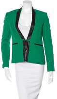 Sea Leather-Trimmed Zip-Up Blazer