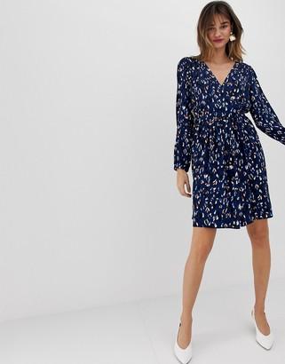 Vero Moda abstract leopard print wrap mini dress