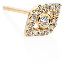 Sydney Evan Small Bezel Evil Eye 14K Yellow Gold & Diamond Single Stud Earring