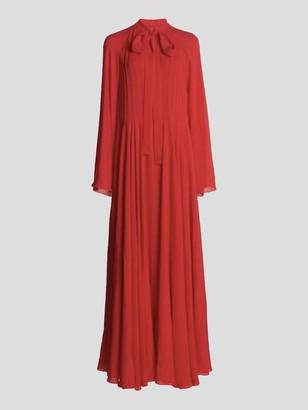 Giambattista Valli Long Sleeve Silk Crepe Tie Neck Maxi Dress