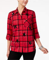 Style&Co. Style & Co Petite Cotton Sequined Plaid Flannel Shirt, Created for Macy's