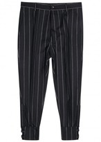 Vivienne Westwood Navy Pinstriped Tapered Wool Trousers