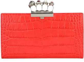 Alexander McQueen Jeweled Four Ring Crocodile-Embossed Clutch Bag, Red