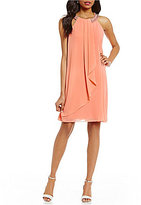 Jessica Howard Beaded Neck Chiffon Dress