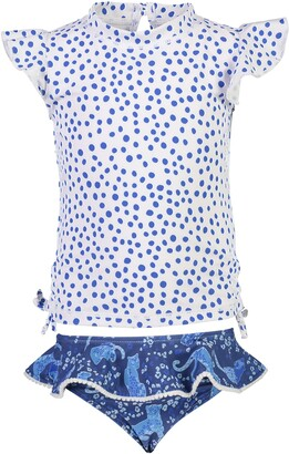 Snapper Rock Blue Spot Two-Piece Ruffle Swimsuit