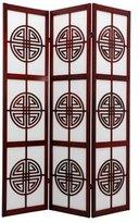 Oriental Furniture 6-Feet Long Life Japanese Folding Shoji Screen with Chinese Symbol Lattice