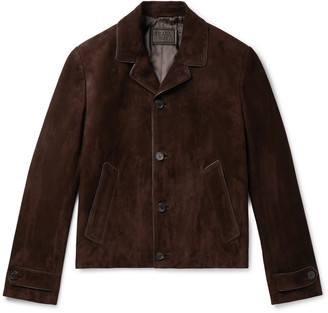 Prada Leather-Trimmed Suede Blouson Jacket
