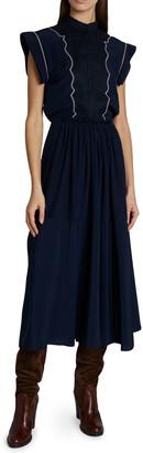Chloé Short-Sleeve Crepe De Chine Midi Dress