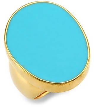 Kenneth Jay Lane 22K Goldplated & Turquoise Enamel Cocktail Ring