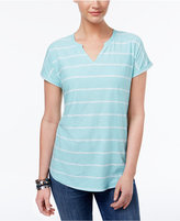 Style&Co. Style & Co Striped Cuffed-Sleeve Top, Only at Macy's
