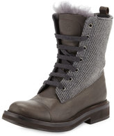 Brunello Cucinelli Fur-Trimmed Lace-Up Combat Boot, Graphite