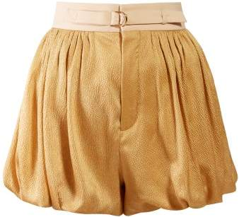 Chloé Degrade Puffed Hem Silk Blend Shorts - Womens - Gold