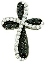 DazzlingRock Collection 0.97 Carat (ctw) 10k White Gold Round & White Diamond Ladies Cross Charm Pendant