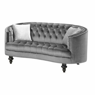 House Of Hampton Trumann Curved Loveseat House of Hampton Upholstery Color: Gray