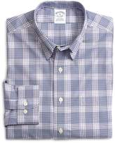 Brooks Brothers Supima® Cotton Non-Iron Slim Fit Lavender with Blue Twill Sport Shirt
