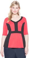 ELOQUII Plus Size V Neck Colorblocked Peplum Top