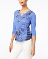 Karen Scott Petite Embellished Printed Top, Only at Macy's