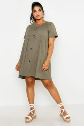 boohoo Plus Button Front Smock Dress