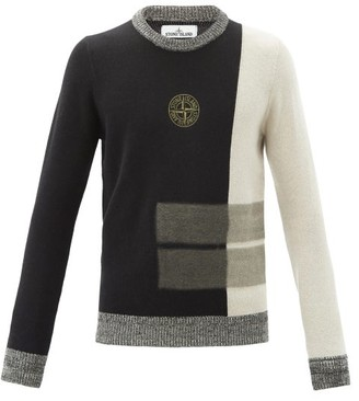 Stone Island Logo-embroidered Panelled Wool-blend Sweater - Black