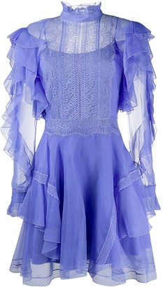 Alberta Ferretti Ruffled Sheer-Panel Mini Dress