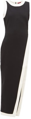 STAUD Asymmetric White-stripe Jersey Tunic - Womens - Black White
