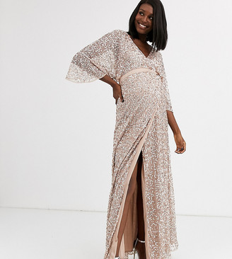 Maya Maternity Bridesmaid delicate sequin wrap maxi dress in taupe blush-Brown