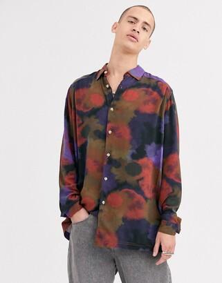 Asos Design DESIGN oversized longline shirt in splurge print-Navy